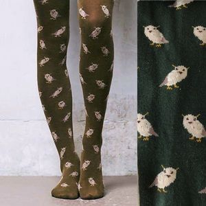 Anthropologie RARE Owl Print Tights Forest Green
